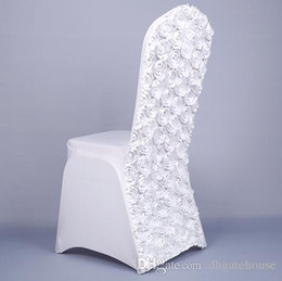 Wholesale White Satin Banquet Chair Covers - Top Quality Wedding Chair Covers 3D Rose Flower Universal Stretch Spandex Chair Covers for Weddings Party Banquet Decoration Accessories