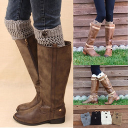 Wholesale Cuffed Boots - Leggings For Women Women Ladies Winter Leg Warmers Button Crochet Knit Boot Socks Toppers Cuffs Designer Belts womens leggings Leg Socks
