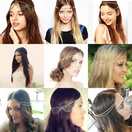 Accesorios de moda baratos online-Cheap Hot Fashion Bohemia Mujeres Metal Head Headband Diademas para el Cabello Joyas Frente Diadema Danza Accesorios de Boda Hippie Crown