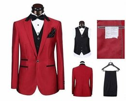 Wholesale Cheap Plus Size Khaki Pants - New Custom made three pieces groom tuxedos cheap red wedding suits Hot Sale Groomsmen Tuxedos (Jacket+Pant+Vest+Tie)