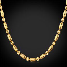 Wholesale Thin Men Gold Necklace Chain - Unisex Gold Ball Chain to Match Pendants Platinum 18K Gold Plated Women Men Thin Bead Chain Necklace