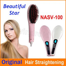 Wholesale Massage Fix - DHL Free NASV Beautiful Star Fast Hair Straightener Styling Tool Flat Iron Comb Brush Massage With LCD Digital Temperature Control 20pcs