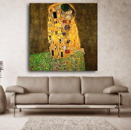 Wholesale Gustav Paintings - 2017 Gustav Klimt Kiss Printed Painting On Canvas Wall Art Picture For Living Room Home Decor Or Hotel Unframed free shipping