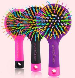 Massaggio arcobaleno online-Rainbow Volume Anti-statica Magic Hair Curl Massaggio dritto Pettine Spazzola Specchietti Strumenti per lo styling
