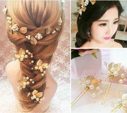 Wholesale Gold Wedding Head Pieces - Romantic party hair pin gold leaf wedding hair piece head piece pearl + alloy gold color