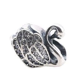 Wholesale Beautiful Glass Beads - Beautiful Swan Design Pandora Style Beads Charm Fit Pandora Snake Chain Bracelet Silver Beads For Jewelry Bracelet PX0079-1B