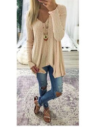 Wholesale Long Sleeve Winter Womens Tops - 2017 Fashion Women casual blouses autumn winter long sleeve V-Neck tops womens clothing plus size