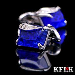 Wholesale Mens Crystal Cufflinks - Cufflinks Men Jewelry 2015 shirt cufflinks for mens Gift Brand cuff button Blue Crystal cuff links High Quality cuff links designer brand