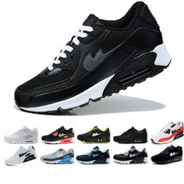 Wholesale Men Leather Leisure Boots - 2017 NEW AIR 90 HUARACHE SNEAKERS MEN WOMEN casual SHOES Breathable Leisure SPORTS SHOES BOOTS Black whithe Free shipping