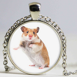 Wholesale Glass Mouse Pendant - lot Hamster necklace , a small furry animal which is similar to a mouse print glass Photo pet necklace
