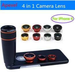 Wholesale Zoom Fishing - Wholesale-Apexel Camera Phone Lense with 12X Zoom Telephoto Lens+ Wide Angle & Macro+ Fisheye Fish eye Lens with Cover for iPhone 6