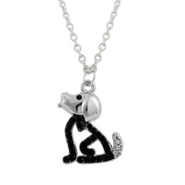 Wholesale Dog Shape Charms - Zinc Alloy 20pcs lot Silver Plated Dog Shaped Necklace Animal Charm with White Crystal Black Rhinestone Long Necklace with Lobster Clasp