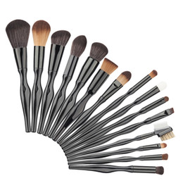 Wholesale Powdered Aluminum - 15pcs Makeup Brushes Set S Body Handle Aluminum Nylon Black Foundation Powder Blush Blending Brush Cosmetic Beauty Tools Kit
