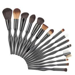 Pinceles de maquillaje de mango de aluminio online-15 unids Maquillaje Pinceles Set S Cuerpo Manija De Aluminio Nylon Negro Base de Polvo Blush Blending Brush Cosméticos Belleza Kit