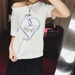 Wholesale Black Art Tee Shirts - 17FW Luxury Europe Paris High Collaboration Coco Love Heart Graffiti Art Tshirt Fashion Men Women T Shirt Casual Cotton Tee Top