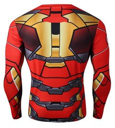 Wholesale Spiderman Cycle Jersey - Sale t shirts for men Mens 3D Superhero cycling jerseys 2015 Spiderman Iron man Long Sleeve slim Cycling suits Tops Slim Fit Sport