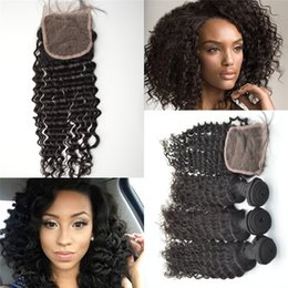 "Wholesale Brazilian Lace Full Head Closure - 8""-30"" Full Head 3 piece deep wave Mongolian virgin human hair with closure 1pc+3PC bundles 4*4 inch swiss lace G-EASY hair closure"