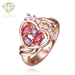 Wholesale Colorful Crown Rings - Cool Design 24K Rose Gold Plated Elegant Classic Zirconia Crown Heart Colorful Crystals Ring Jewelry for Women Wedding