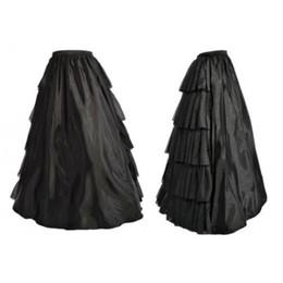 Mulheres Gothic Lolita Multi-camadas Ruffles Longo Saia Preta Elástico de Cintura Alta Prom Corset Saia Correspondente para o Natal Festa de Halloween de Fornecedores de draped saia padrão
