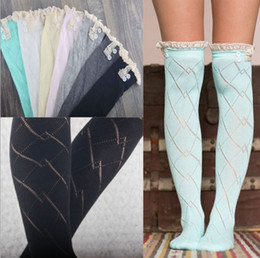 Wholesale School Socks For Girls - Women Stocking with Lace for School Girls Fashion Women Socks Solid Color Cute Overknee Stockings for Boots Christmas Gifts
