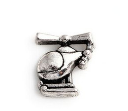 Wholesale Helicopter Charms Silver - 20PCS lot Silver Plated Helicopter Charm, DIY Alloy Floating Charms Fit For Magnetic Glass Living Locket Pendant
