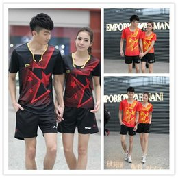 Wholesale Sports Skirt Tennis - Wholesale-Free Shipping 20166New style LiNing Table Tennis T- shirt  Badminton Clothes Women  Men Sports  running suit Tennis skirts