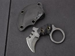 Um karambit aus on-line-O um mini Karambit lâmina fixa faca Hawkbill AUS-8 aço preto Stonewash plain faca tática facas com bainha