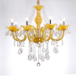 Современная свежая лимонно-желтая хрустальная люстра 6 8 кронштейнов подвесные светильники Лампа E14 светильник блеск Cristal светильник для столовой от