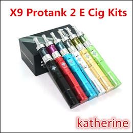 Wholesale X9 Variable Voltage Kit - X9 Protank 2 Kit Pyrex Glass 1300mah X9 Battery Variable Voltage 3.2V-4.2V Electronic Cigarette E Cig X6 Upgraded Kit Various Colors Instock