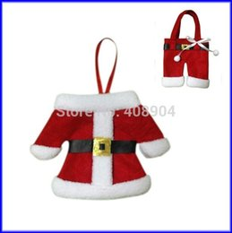 Wholesale luminous pants - 100pcs Santa Claus Mini Clothes Pants Style Christmas Tableware Bag Knife Fork Bags Gift