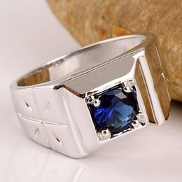Wholesale Men Jewelry 925 Silver Piece - Assorted Order 5 Pieces   Lot Vogue White Gold Finish Men 925 Sterling Silver Ring Mix Colors & Sizes Fashion Jewelry Accessories R508