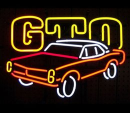"Wholesale Car Garage Decorations - GM PONTIAC GTO NEON SIGN REAL GLASS TUBE CAR ADVERTISEMENT STORE DISPLAY MANCAVE BAR PUB GARAGE HOME DECORATION SIGN 17""X14"""