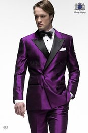 Wholesale Double Bow Ties - New Arrival Double-Breasted Purple Groom Tuxedos Peak Lapel Slim Fit Haut Men's Wedding Dress Prom Clothing(Jacket+pants+Bows tie)4