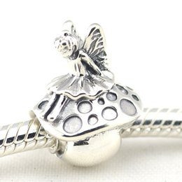 Wholesale Pandora Charms Fairy - Forest Fairy and Mushroom Charm 100% 925 Sterling Silver Beads Fit Pandora Charms Bracelet DIY Brand Fashion Jewelry