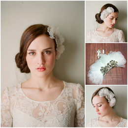 Wholesale Beautiful Hair Flowers - 2017 White Organza Flower Hair Accessories with Comb Crystals Bridal Headpieces Beautiful Women Party Accessories Free Shipping CPA098