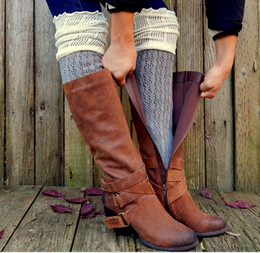 Wholesale Lace Socks For Boots Wholesale - 20pairs lot Christmas Gift Lace Long Leg Warmers Boot Stockings Crochet Knee Leg Warmers Boot Cuffs Boot Toppers for Women Boot Socks K6095