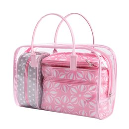 Wholesale Waterproof Pvc Handbags - 4pcs Pvc Pink Cosmetic Bag Transparent Waterproof Cosmetic Case Clear Organizer Pouch Fashion Makeup Bags Handbag Accessories Supplies