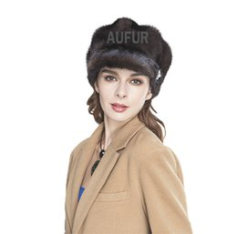 Wholesale Genuine Mink Hat - Wholesale-Luxurious Genuine Mink Fur Caps Fashion Womens Real Mink Fur Visor Peaked Hats Winter Warm Headgear AU00513
