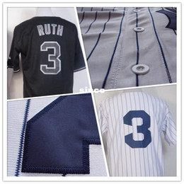 Wholesale Delivery Time - 30 Teams- #3 New York Baseball Jerseys Babe Ruth stitched white gray Mens Jerseys Cool Base Wholesale Delivery Time 6-15days
