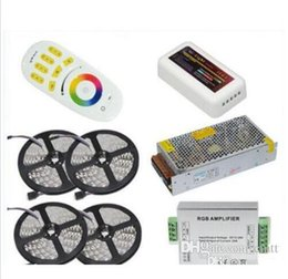 Wholesale Dc Amplifier - 1set best quality 20M 5050 RGB LED Strip Light 60Leds M Flexible Led Ribbon Tape + Wireless Touch Remote Controller+24A Amplifier+20 A Power