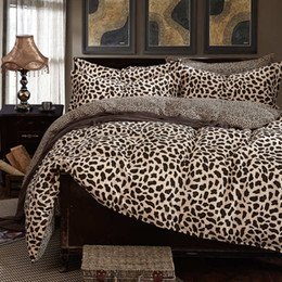 Wholesale Leopard Comforter Full - 100 cotton duvet cover bedding set leopard bedcolthes Damask queen size blue and white Paisley stripe plaid bed sheet pink #2