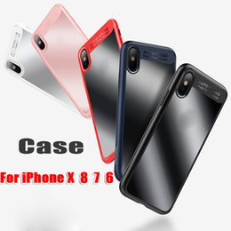 Wholesale Iphone Hard Gel Case - For iPhone X 8 7 6 Plus Phone Case Rugged Gel Bumper Protector Hard Clear Cellphone Case Cover Case for Iphone 8
