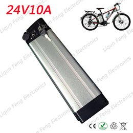 Wholesale 24v Li Ion Charger - 24V 10AH Silver fish e-bike lithium ion battery for a bike 350W 24V10AH Electric bike Li-ion battery 18650 cells with 2A Charger