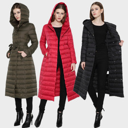 Wholesale Womens Orange Coats - New women extra down long or middle coat winter brand high-knee ultra-thin slim womens down coats female lightweight hooded jacket woman