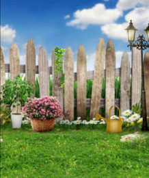 Wholesale Outdoor Photography Backdrops - Garden Wood Fence Green Grassland Flowers Road Lamp Scenic 5x7ft Background Photography Outdoor Wedding Children Vinyl Backdrops