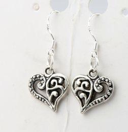 Wholesale Silver Plated Heart Pendant Wholesale - 13.2x31.5mm Tibetan Silver Open Half Flower Cute Heart Charm Pendant Earrings 925 Silver Fish Ear Hook Chandelier E919
