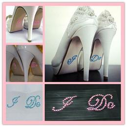 Wholesale I Sticker Wedding - I DO Blue Pink Rhinestone Crystal Bridal Wedding Shoe Decoration Sticker Shoe Accessories