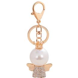 Perla simulada perla colgante llavero cristal corona ángel llavero encantadora figura llavero cadena mujer regalo del bolso del encanto desde fabricantes