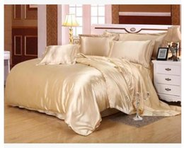 Wholesale Fitted Bedspreads Twin - Silk bedding set satin super king size queen full double camel tan duvet cover fitted bed sheet linen bedspread quilt doona 6pcs