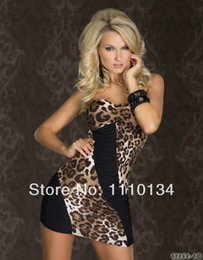 Wholesale Cheap Work Dresses Sale - On Sale Tailliertes Bandeau-Minikleid Mit Sexy Einblicken Leopard Dress Clubwear Cheap Price Free Shipping Fast Delivery 0456
